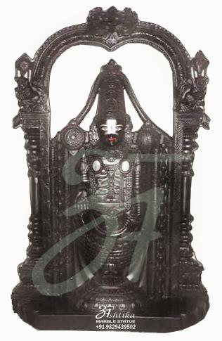 Black Marble Tirupati Balaji Statue