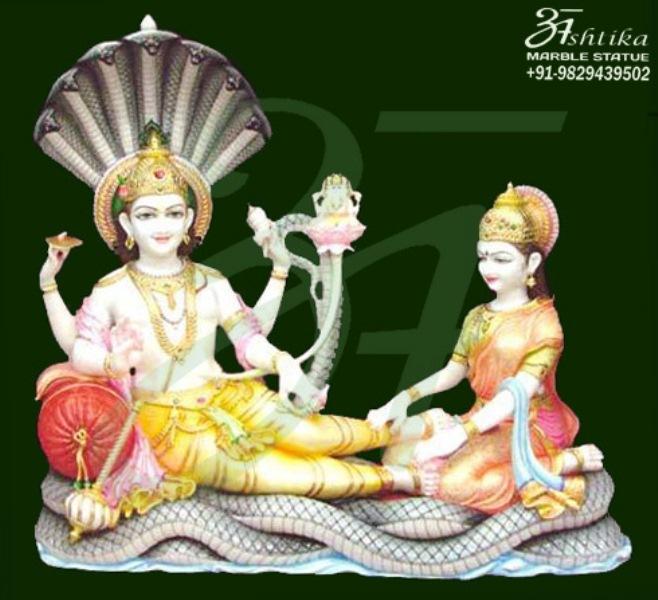 Marble Vishnu Laxmi Shesh Shaiya Statue