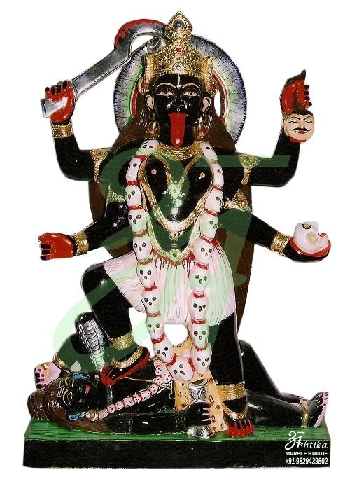 Black Marble Kali Maa Statue Ashtika Marble Statue