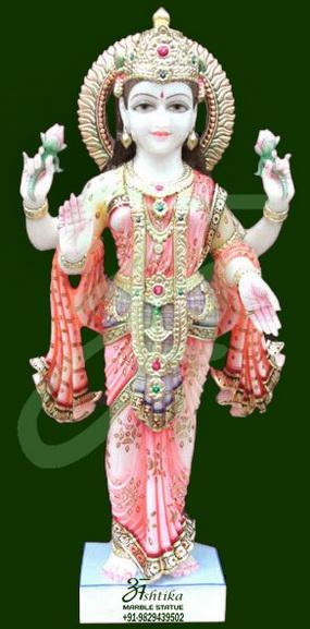 Marble Standing Laxmi Mata Statue