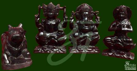 Black Marble Shiv Parivar Statue