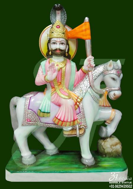 White Marble Ramdev Baba Statue