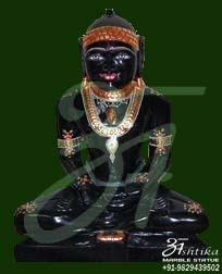 Black Marble Mahavir Swami Statue