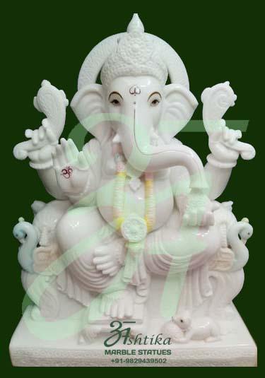 White Marble Ganesh Statue