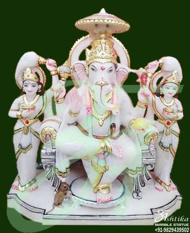 Marble Ganesh Statue With Ridhi Sidhi