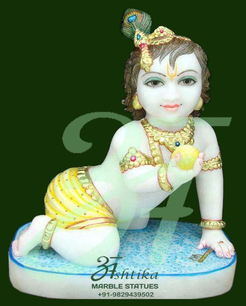 Marble Krishna Statue With Base