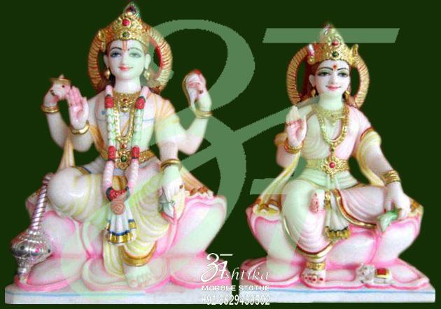 Marble Sitting Vishnu Laxmi Statue