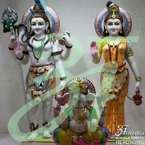 Marble Shiv Parvati With Ganesha Statue