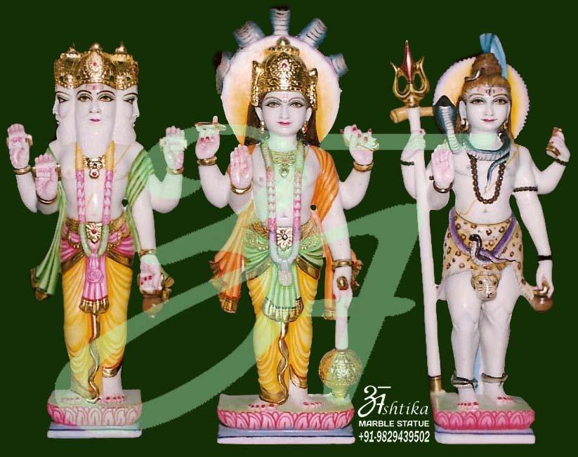 Lord Bhrama Vishnu Mahesh Marble Statue